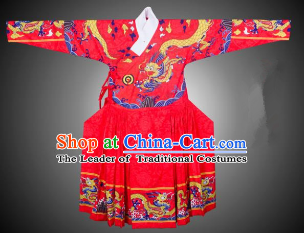 Asian China Ming Dynasty Swordsman Costume Printing Red Robe, Traditional Ancient Chinese Imperial Bodyguard Hanfu Clothing for Men