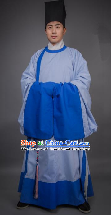 Asian China Ming Dynasty Minister Costume Blue Robe, Traditional Ancient Chinese Chancellor Hanfu Clothing for Men