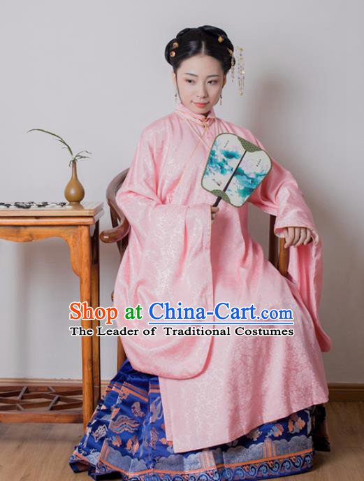 Asian China Ming Dynasty Princess Costume Pink Robe, Traditional Ancient Chinese Palace Lady Embroidered Hanfu Clothing for Women