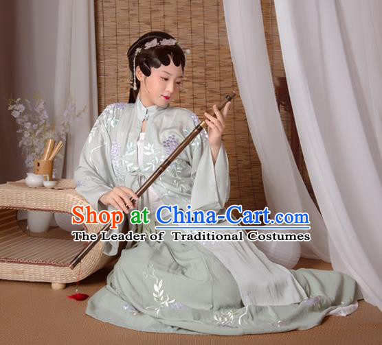 Asian China Ming Dynasty Princess Costume Complete Set, Traditional Ancient Chinese Palace Lady Hanfu Embroidered Green Clothing for Women