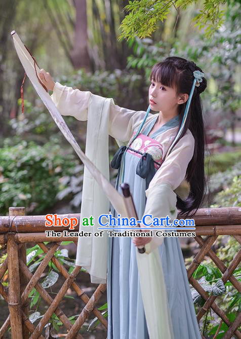 Asian China Tang Dynasty Princess Costume, Traditional Ancient Chinese Palace Lady Embroidered Hanfu Blue Slip Skirt Clothing for Women