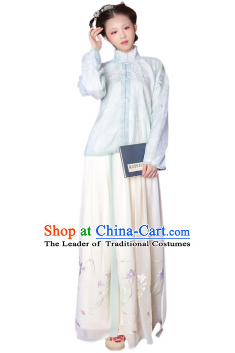 Asian China Ming Dynasty Princess Costume Green Blouse and Skirt, Traditional Ancient Chinese Palace Lady Hanfu Embroidered Clothing for Women