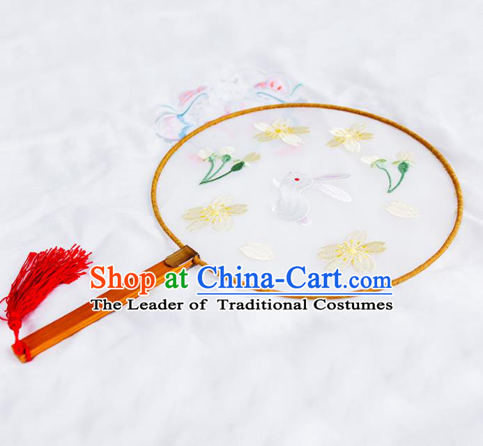 Asian Chinese Palace Lady Round Fans, Traditional China Handmade Hanfu Embroidered Fan for Women