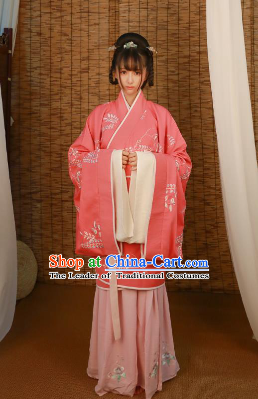Asian China Han Dynasty Imperial Princess Costume, Traditional Ancient Chinese Hanfu Embroidered Curve Bottom Clothing for Women