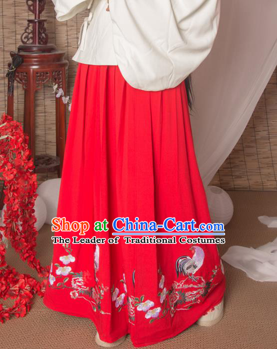 Asian China Ming Dynasty Palace Lady Costume Red Skirt, Traditional Ancient Chinese Imperial Princess Hanfu Embroidered Skirt Clothing for Women