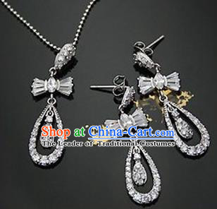 Traditional Korean Accessories Asian Korean Fashion Wedding Crystal Bowknot Necklace and Earrings Complete Set for Women