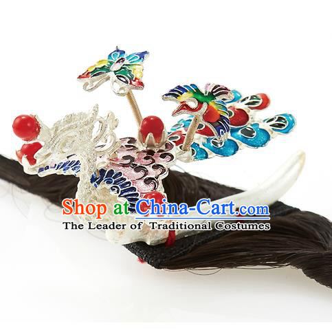 Traditional Korean Hair Accessories Bride Phoenix Hair Claw, Asian Korean Fashion Wedding Hair Decorations for Kids