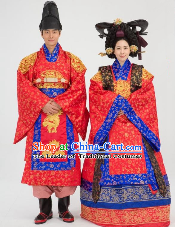 Traditional Korean National Handmade Court Embroidered Wedding Clothing, Asian Korean Apparel Hanbok Embroidery Bride and Bridegroom Costume for Women for Men