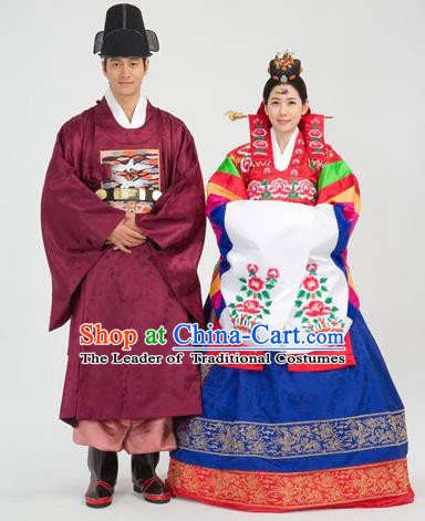 Traditional Korean National Handmade Court Embroidered Wedding Clothing, Asian Korean Bride and Bridegroom Costume for Women for Men