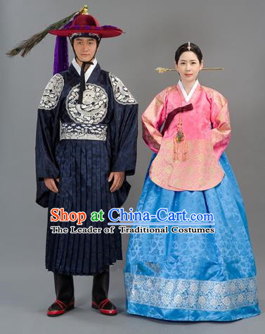 Traditional Korean National Handmade Court Embroidered Wedding Clothing, Asian Korean Bride Blue Dress Costume for Women