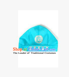 Traditional Korean Hair Accessories Embroidered Blue Hats, Asian Korean Fashion National Boys Headwear for Kids