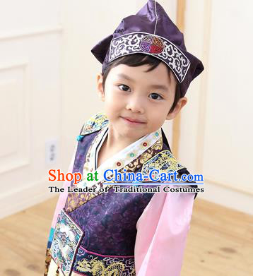 Traditional Korean Hair Accessories Embroidered Boys Hat, Asian Korean Fashion Baby Prince Navy Hats for Kids