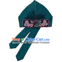 Traditional Korean Hair Accessories Embroidered Boys Hat, Asian Korean Fashion Baby Prince Green Hats for Kids