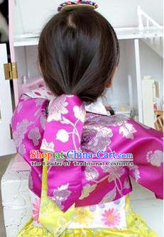 Traditional Korean Hair Accessories Embroidered Rosy Headband, Asian Korean Fashion Wedding Hair Ribbons Decorations for Kids