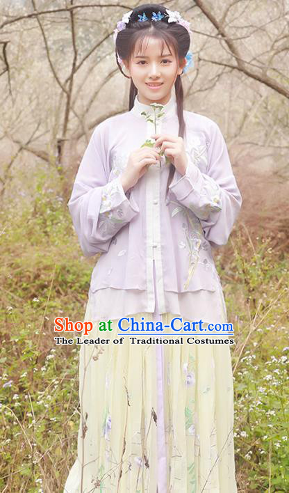 Asian China Ming Dynasty Young Lady Costume Blouse and Skirt, Traditional Ancient Chinese Imperial Princess Hanfu Embroidered Clothing for Women