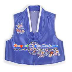 Traditional Korean Handmade Hanbok Blue Embroidered Vest, Asian Korean Apparel Hanbok Embroidery Bride Waistcoat for Girls