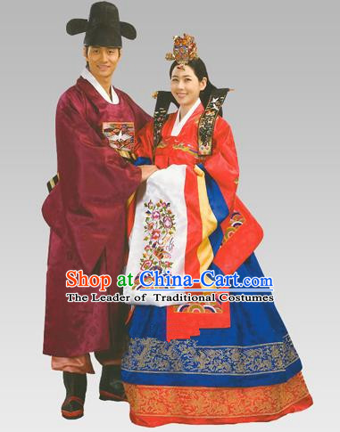 Traditional Korean Handmade Formal Occasions Court Wedding Costume Complete Set, Asian Korean Apparel Bride and Bridegroom Hanbok Clothing