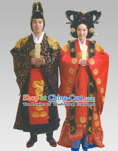 Traditional Korean Handmade Formal Occasions Palace Wedding Costume Complete Set, Asian Korean Apparel Bride and Bridegroom Hanbok Clothing