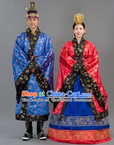 Traditional Korean Handmade Formal Occasions Embroidered Wedding Costume Complete Set, Asian Korean Apparel Bride and Bridegroom Hanbok Clothing