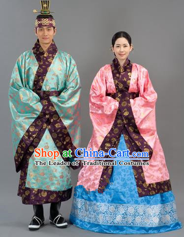 Traditional Korean Handmade Formal Occasions Embroidered Wedding Costume, Asian Korean Apparel Bride and Bridegroom Hanbok Clothing Complete Set