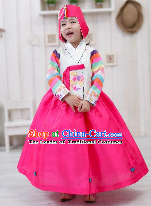 Traditional Korean Handmade Formal Occasions Embroidered Girls Costume, Asian Korean Apparel Bride Hanbok Rosy Dress Clothing for Kids