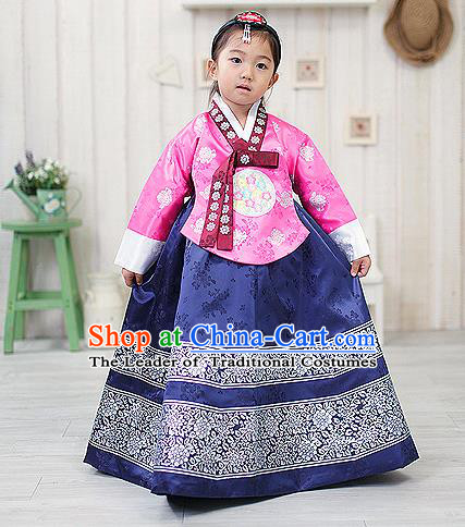 Traditional Korean Handmade Formal Occasions Embroidered Girls Costume, Asian Korean Apparel Bride Hanbok Navy Dress Clothing for Kids