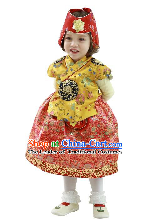 Traditional Korean Handmade Formal Occasions Embroidered Girls Wedding Costume Yellow Blouse and Red Dress Hanbok Clothing for Kids