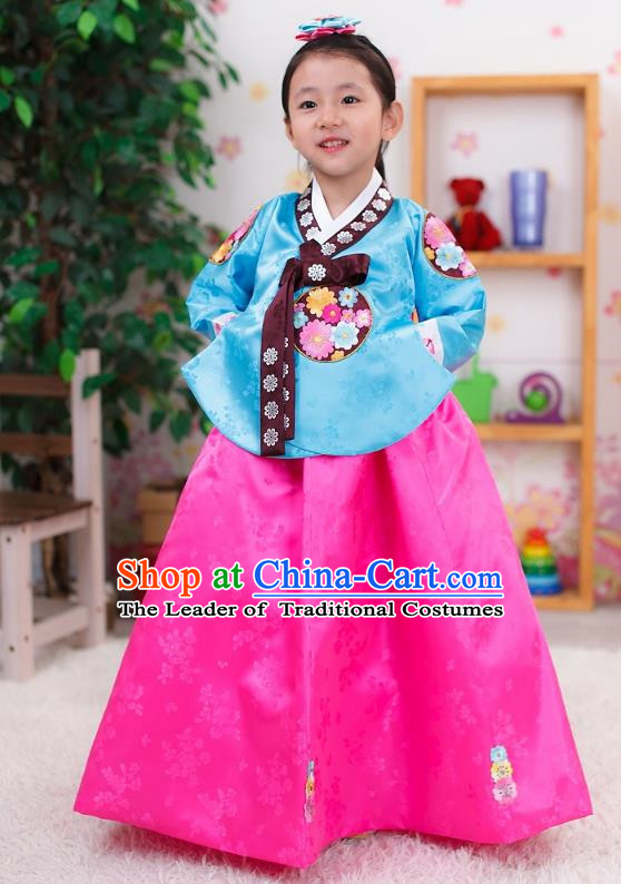 Traditional Korean Handmade Formal Occasions Embroidered Girls Wedding Costume, Asian Korean Apparel Palace Hanbok Pink Dress Clothing for Kids