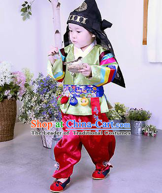 Traditional Korean Handmade Formal Occasions Embroidered Palace Prince Hanbok Green Clothing for Kids