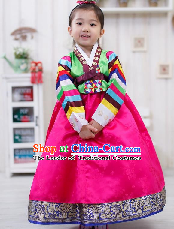 Traditional Korean Handmade Formal Occasions Embroidered Girls Wedding Pink Costume, Asian Korean Apparel Palace Hanbok Dress Clothing for Kids