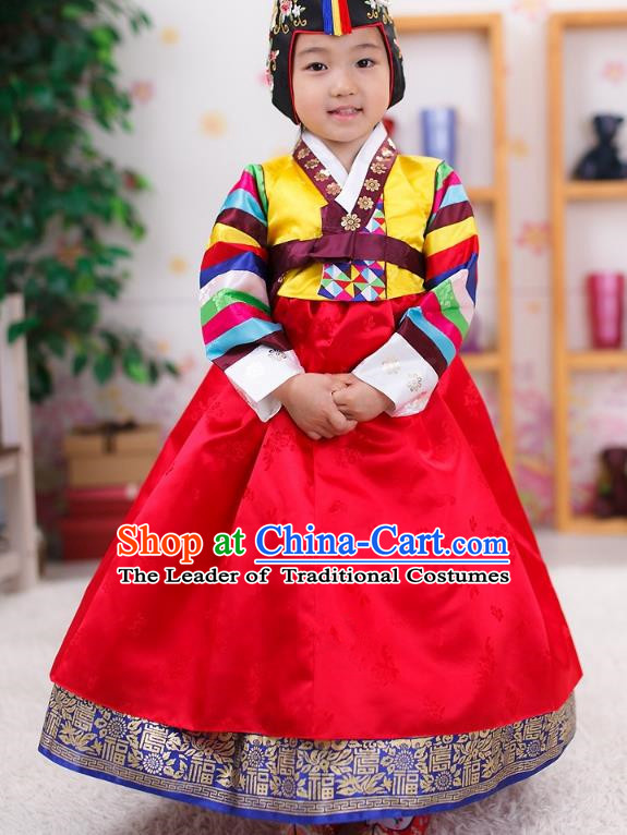 Traditional Korean Handmade Formal Occasions Embroidered Girls Wedding Red Costume, Asian Korean Apparel Palace Hanbok Dress Clothing for Kids