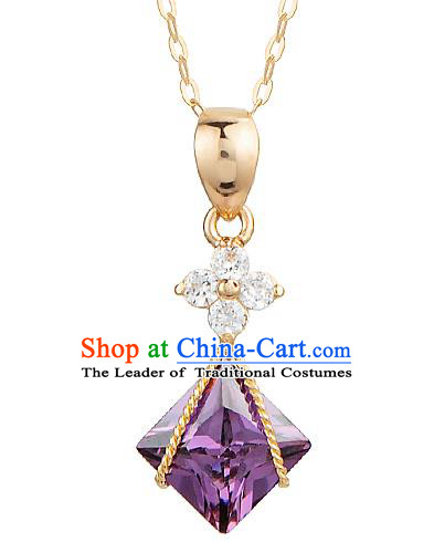 Traditional Korean Accessories Purple Crystal Necklace, Asian Korean Fashion Wedding Tassel 14K Gold Necklet Decorations for Women