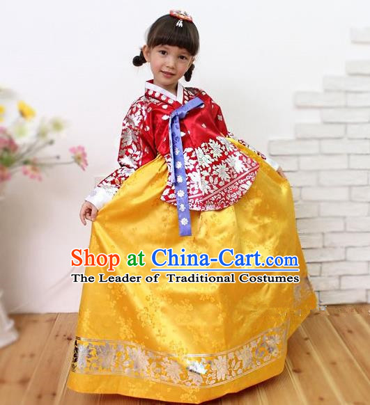 Traditional Korean Handmade Embroidered Formal Occasions Costume, Asian Korean Apparel Hanbok Yellow Dress Clothing for Girls