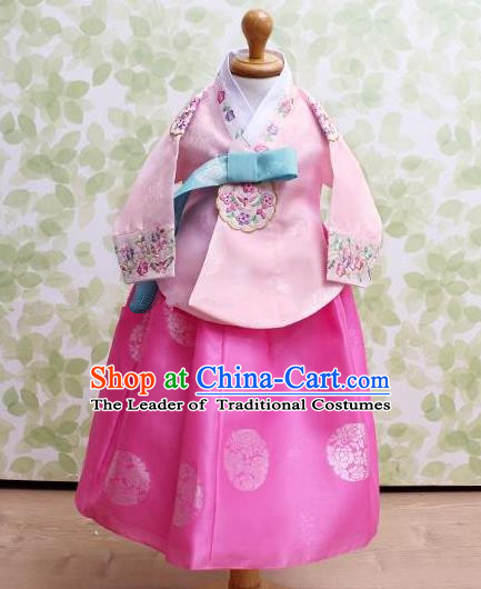 Traditional Korean Handmade Embroidered Formal Occasions Pink Costume, Asian Korean Apparel Hanbok Dress Clothing for Girls