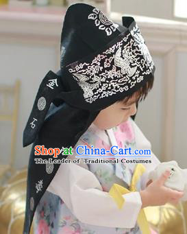 Traditional Korean Hair Accessories Palace Prince Hats, Asian Korean National Fashion Children Tiger Head Imitation Cap Headwear for Boys