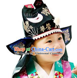 Traditional Korean Hair Accessories Palace Prince Embroidery Hats, Asian Korean National Fashion Children Tiger Head Imitation Cap Headwear for Boys