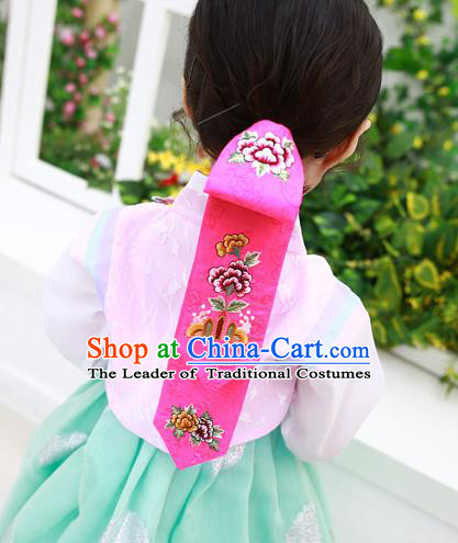 Traditional Korean Hair Accessories Palace Princess Embroidery Pink Hair Ribbons, Asian Korean National Fashion Children Headband for Girls