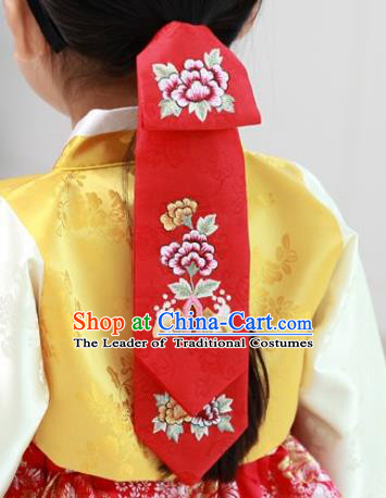 Traditional Korean Hair Accessories Palace Princess Embroidery Red Hair Ribbons, Asian Korean National Fashion Children Headband for Girls