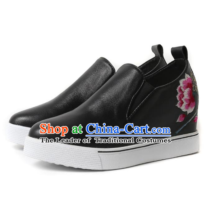 Asian Chinese Traditional Shoes Black Embroidered Boots, China Handmade Embroidery Peony Shoes for Women