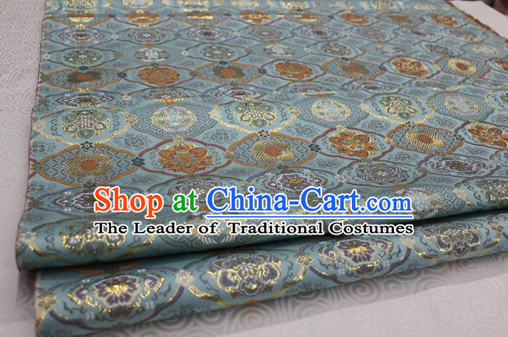 Chinese Traditional Royal Palace Pattern Light Blue Brocade Mongolian Robe Tibetan Robe Fabric, Chinese Ancient Costume Satin Hanfu Kimono Material