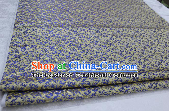 Chinese Traditional Palace Pattern Tang Suit Cheongsam Yellow Brocade Fabric, Chinese Ancient Costume Hanfu Satin Material