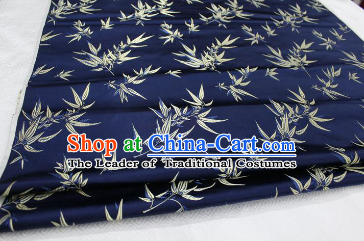 Chinese Traditional Palace Bamboo Pattern Tang Suit Cheongsam Navy Brocade Fabric, Chinese Ancient Costume Hanfu Material