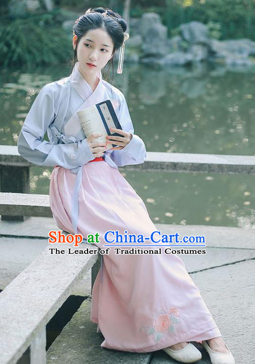 Traditional Chinese Ancient Nobility Lady Costume Ming Dynasty Hanfu Embroidered Begonia Blouse and Skirt Complete Set for Women
