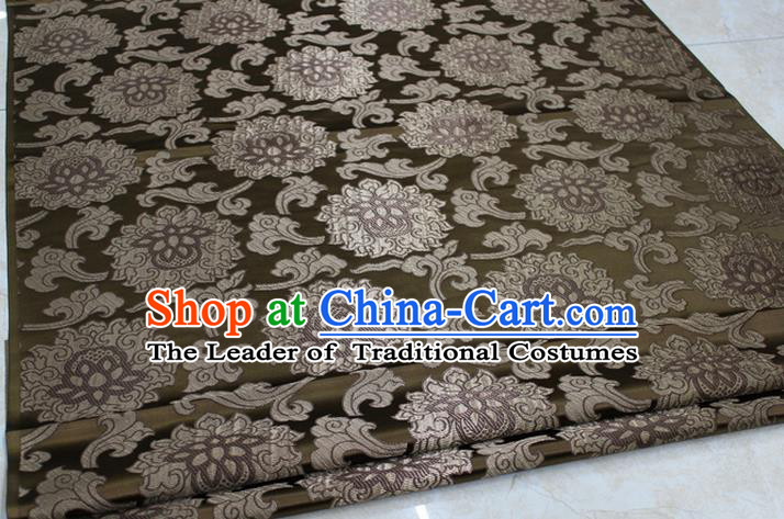 Chinese Traditional Ancient Costume Palace Lotus Pattern Mongolian Robe Bronze Brocade Tang Suit Fabric Hanfu Material