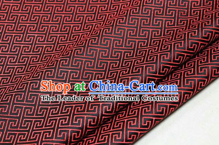 Chinese Traditional Ancient Costume Palace Red Back Pattern Black Brocade Cheongsam Satin Mongolian Robe Fabric Hanfu Material