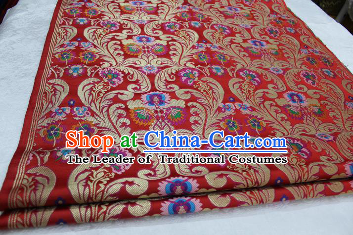Chinese Traditional Ancient Costume Palace Flower Pattern Xiuhe Suit Red Nanjing Brocade Cheongsam Satin Fabric Hanfu Material