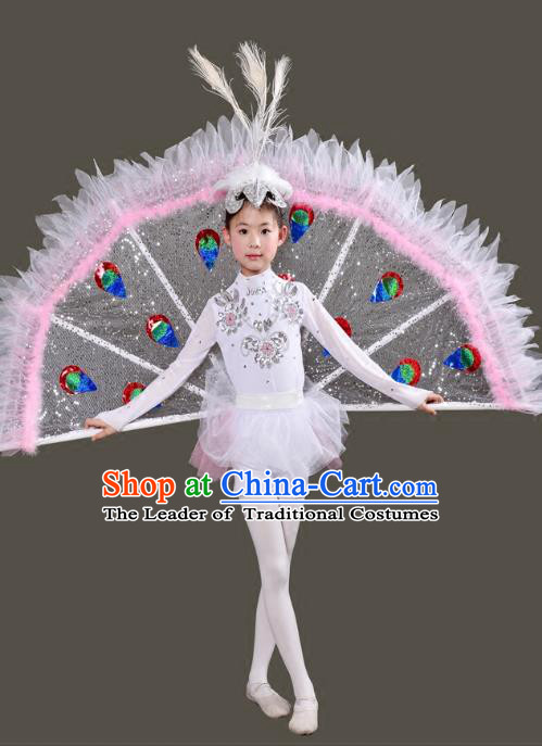 Traditional Chinese Peacock Dance Costume Folk Dance Pavane Dance Clothing for Kids