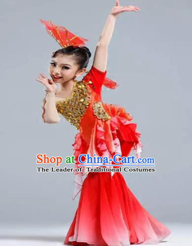 Traditional Chinese Classical Dance Yangge Fan Dancing Costume, Folk Dance Drum Dance Uniform Yangko Red Clothing for Kids