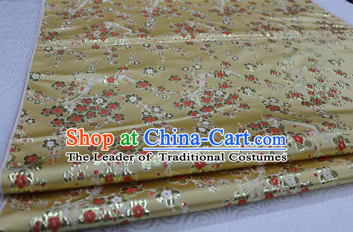 Chinese Traditional Ancient Costume Palace Wintersweet Pattern Cheongsam Yellow Brocade Tang Suit Satin Fabric Hanfu Material