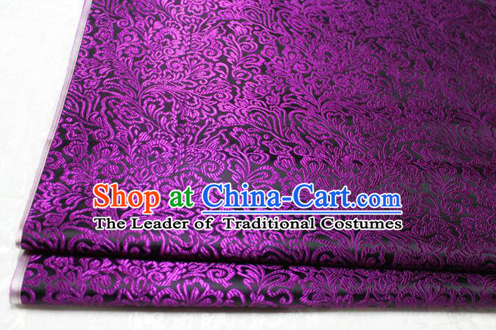 Chinese Traditional Ancient Costume Palace Phoenix Flower Pattern Tang Suit Brocade Cheongsam Purple Satin Fabric Hanfu Material
